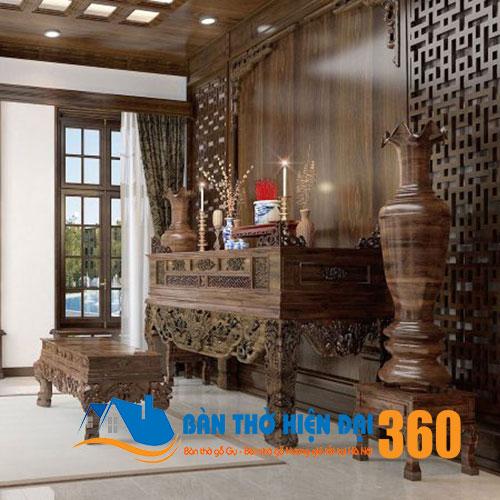 Mẫu thiết kế phòng thờ chung cư gỗ cao cấp