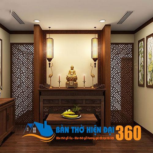 Vách ngăn phòng thờ gỗ tự nhiên chất lượng